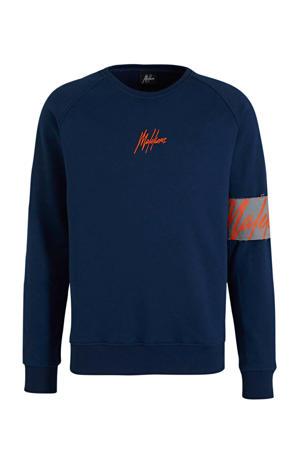 sweater met logo donkerblauw/oranje