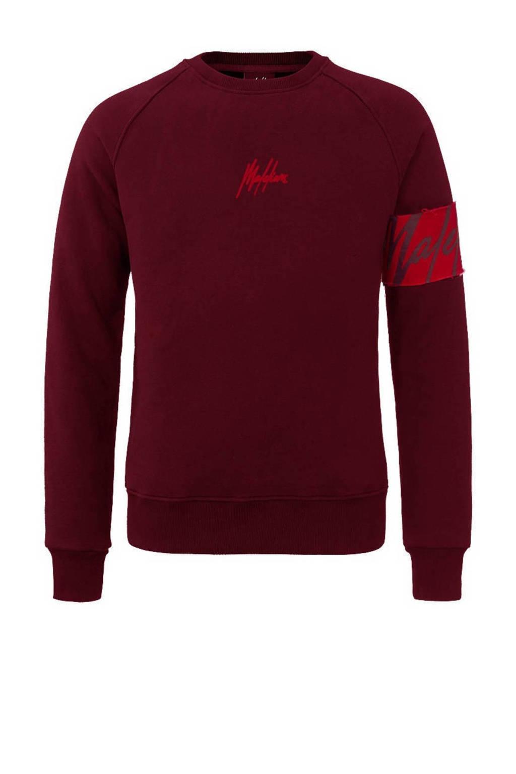 Malelions sweater met logo donkerrood/rood, Donkerrood/rood