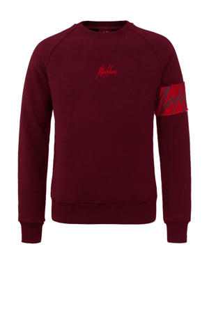 sweater met logo donkerrood/rood