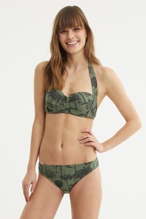 halter bikinitop met all over print groen/zwart