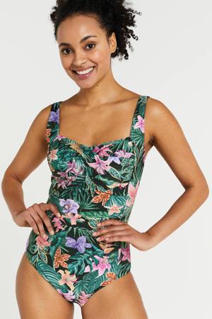 gebloemd corrigerend badpak met rimpel details groen/koraal/roze
