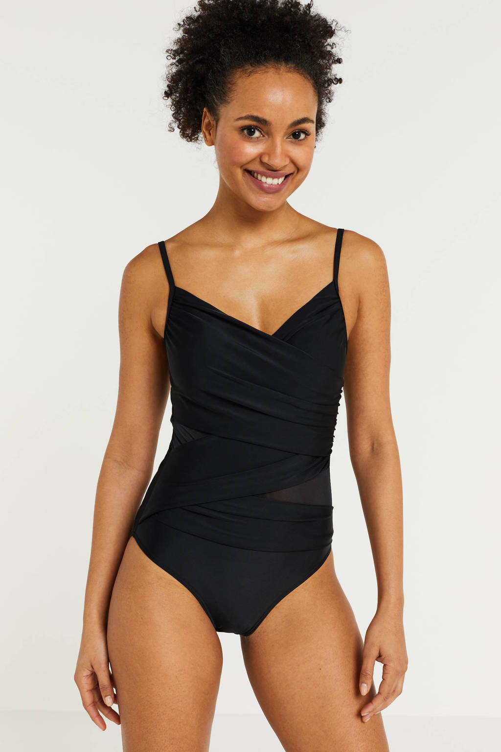 BEACHWAVE corrigerend badpak met mesh details zwart, Zwart