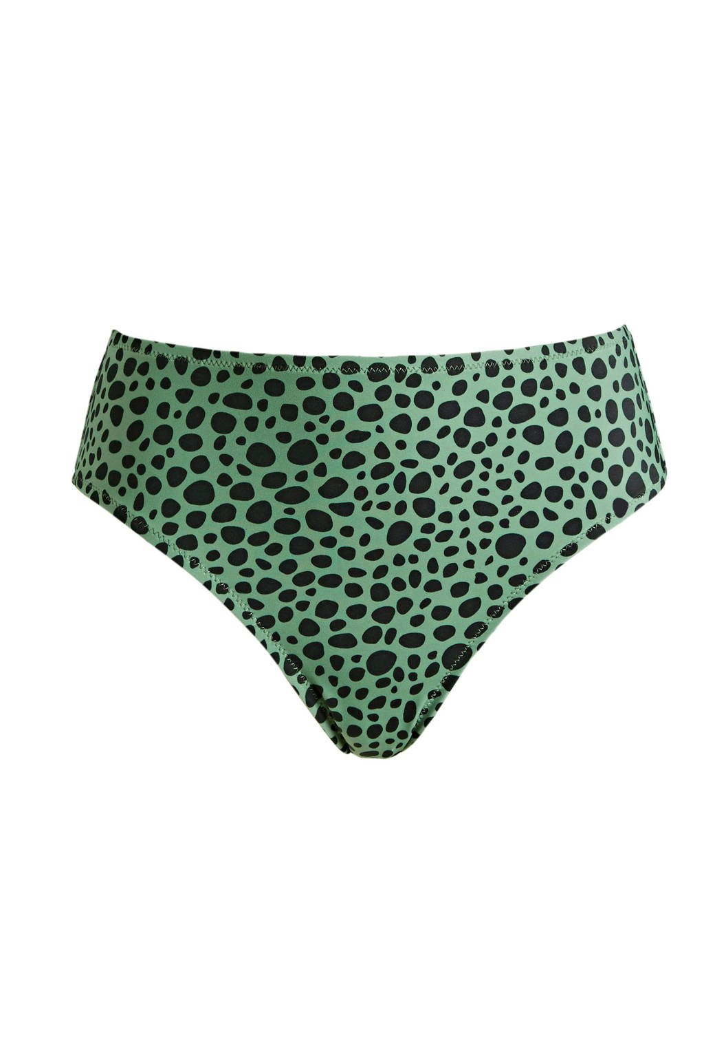 BEACHWAVE hipster bikinibroekje met stippen groen/zwart, Groen/zwart