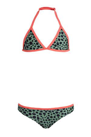triangel bikini met stippen groen/zwart