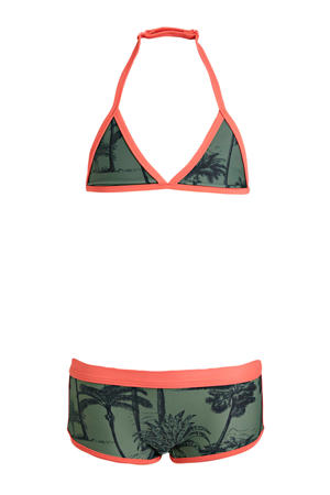 triangel bikini + scrunchie met all over print groen/zwart