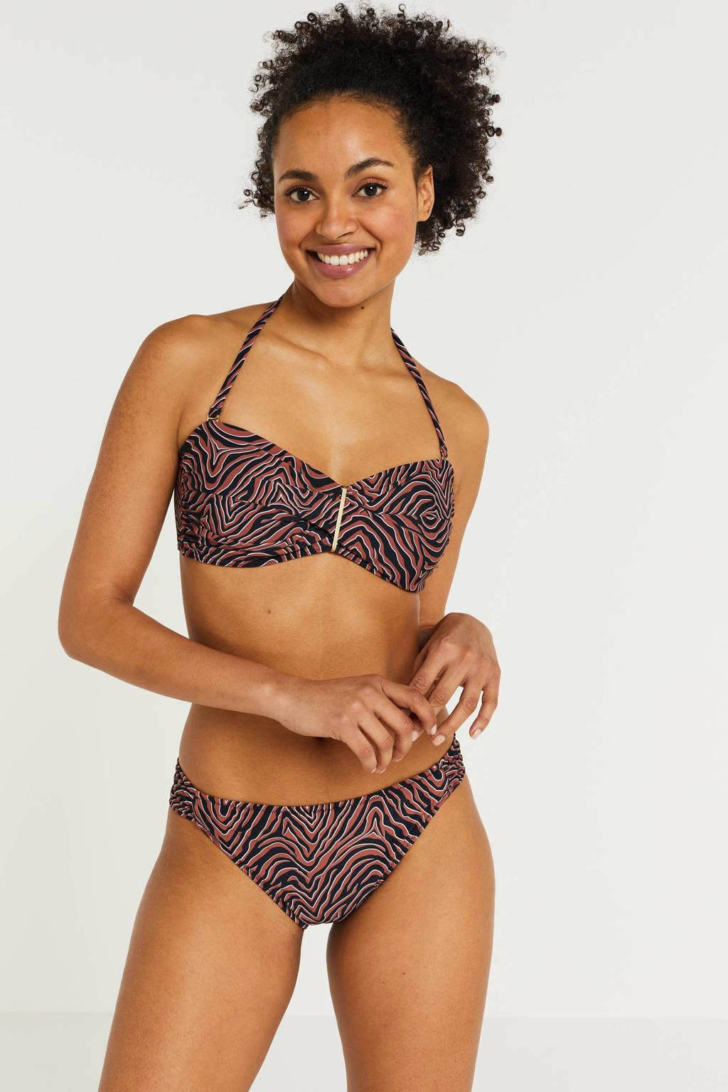 BEACHWAVE strapless bandeau bikinitop met all over print brique/zwart/wit, Brique/zwart/wit