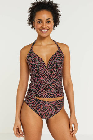 tankini bikinitop met all over print brique/zwart/wit