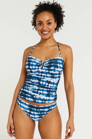 strapless tie-dye tankini bikinitop blauw/wit