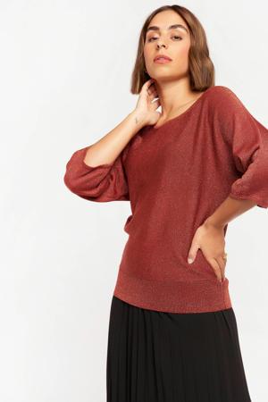 trui met glitters roodbruin