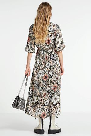 gebloemde maxi jurk beige/multi