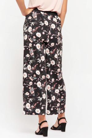 gebloemde cropped high waist loose fit broek zwart/lichtroze