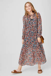 C&A Yessica gebloemde semi-transparante jurk zwart/donkerrood/blauw, Donkerrood/zwart/blauw