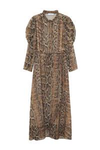 Mango jurk met slangenprint bruin, Bruin
