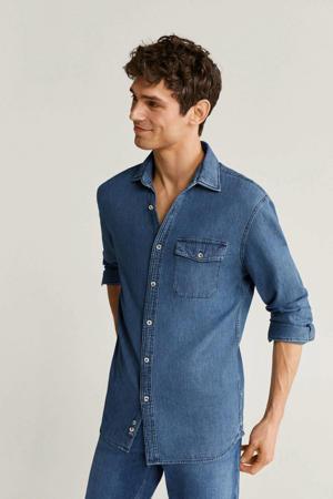regular fit overhemd donkerblauw