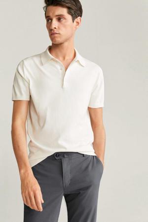 regular fit pantalon met krijtstreep grijs