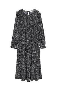 Mango jurk met all over print en ruches zwart, Zwart