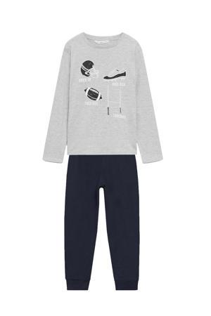 pyjama met printopdruk grijs/zwart