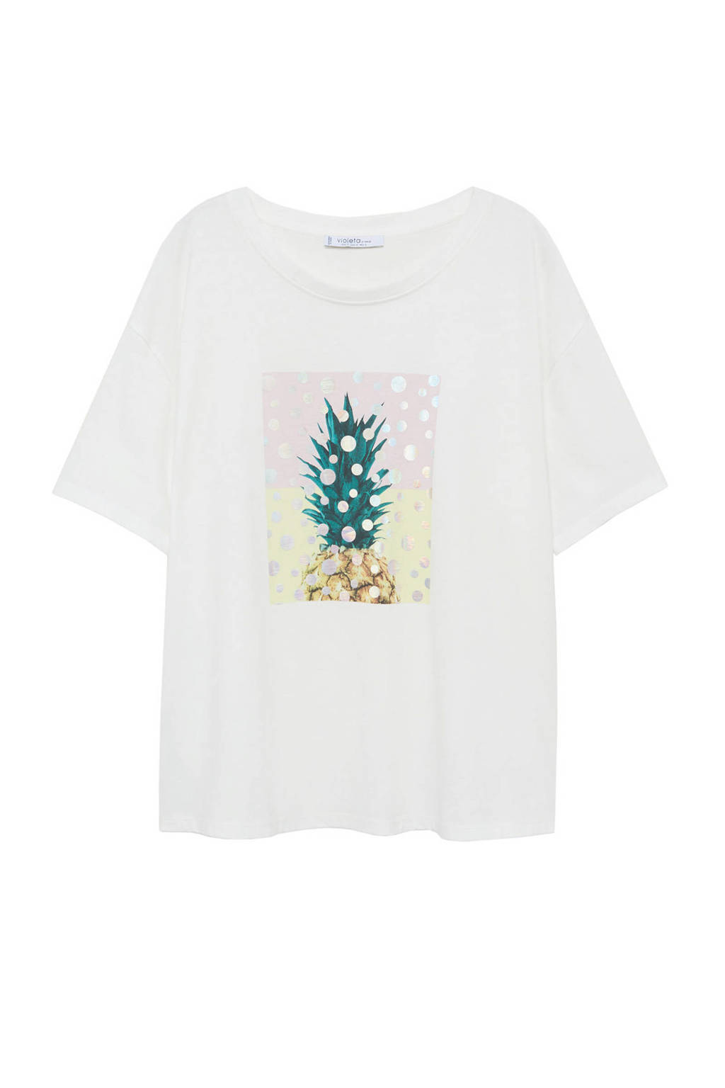 Violeta by Mango T-shirt met printopdruk wit, Wit