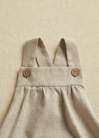 Mango Kids baby loose fit tuinbroek beige, Beige