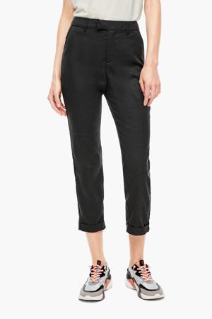 geruite slim fit pantalon zwart