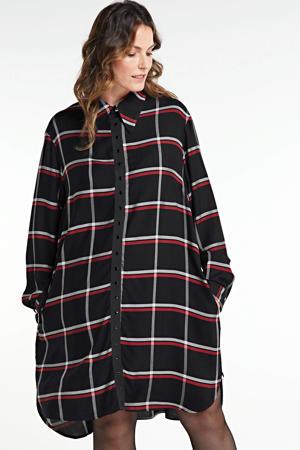 geruite blousejurk zwart/rood/grijs