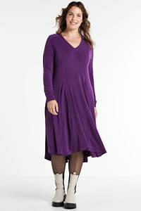 Mat Fashion jurk met plooien paars, Paars