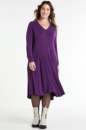 jurk met plooien paars