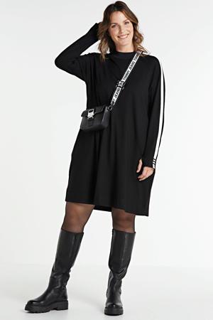 jurk met contrastbies zwart/wit