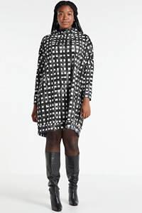 Mat Fashion jurk met all over print zwart/wit, Zwart/wit