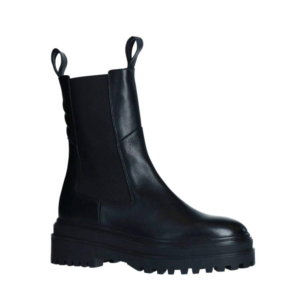 Sacha x Vivian Hoorn  hoge leren chelsea boots zwart, Zwart