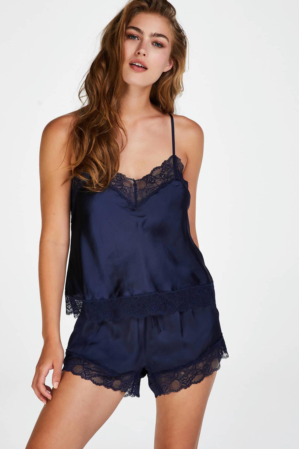 Hunkemöller pyjamashort met kant donkerblauw, Donkerblauw
