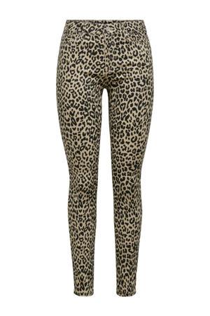 high waist skinny jeans Nine-Ester met panterprint beige/zwart