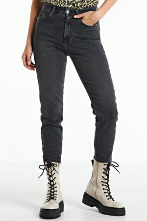cropped high waist slim fit jeans ONLEMILY black denim