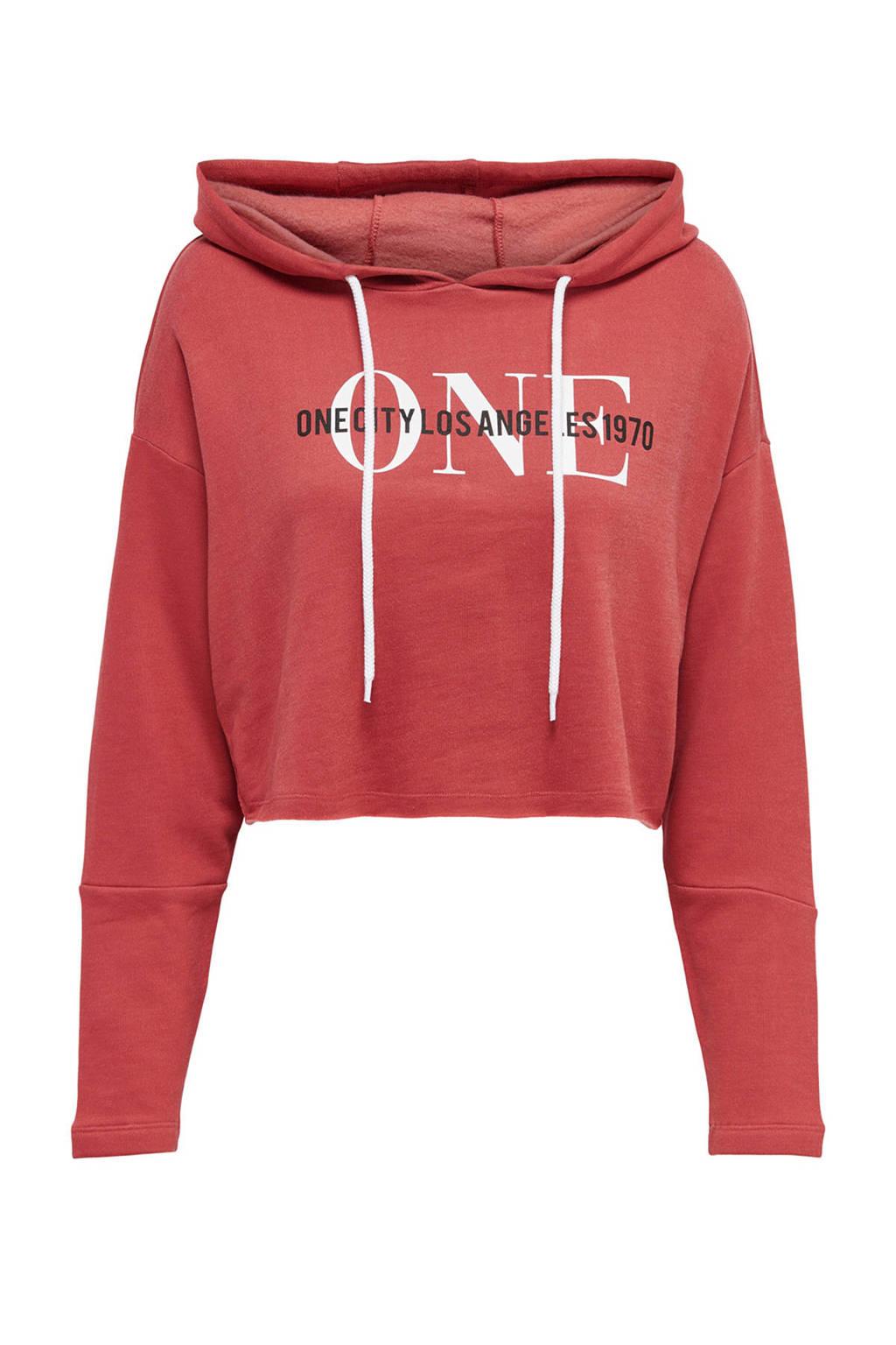 ONLY hoodie met printopdruk rosé, Rosé