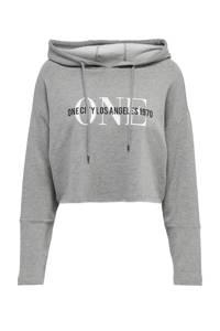 ONLY hoodie met printopdruk grijs, Grijs