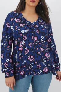 Simply Be Capsule gebloemde top donkerblauw/roze/wit, Donkerblauw/roze/wit