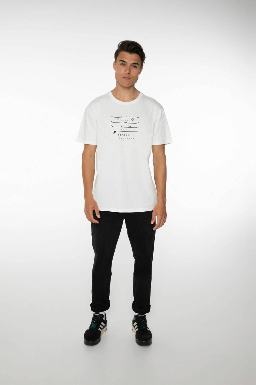 Protest T-shirt Curly met printopdruk ecru, Seashell