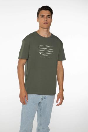 T-shirt Curly met printopdruk legergroen