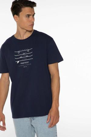 T-shirt Curly met printopdruk donkerblauw