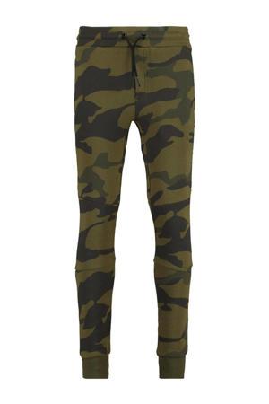 slim fit broek CRI met camouflageprint donkergroen