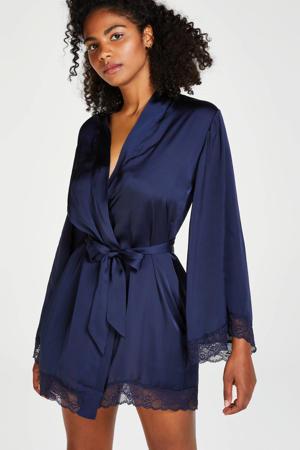 satijnen kimono donkerblauw