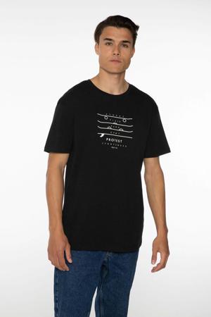 T-shirt Curly met printopdruk zwart