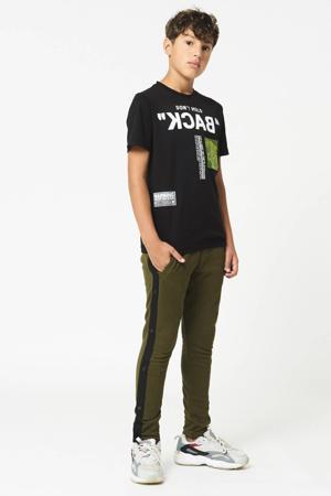 slim fit broek Cam met zijstreep donkergroen