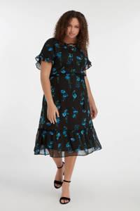 MS Mode gebloemde semi-transparante jurk zwart/blauw/groen, Zwart/blauw/groen