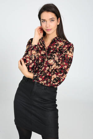 blouse met all over print donkerrood/multi