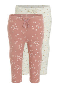 C&A Baby Club legging - set van 2 ecru/roze, Ecru/roze