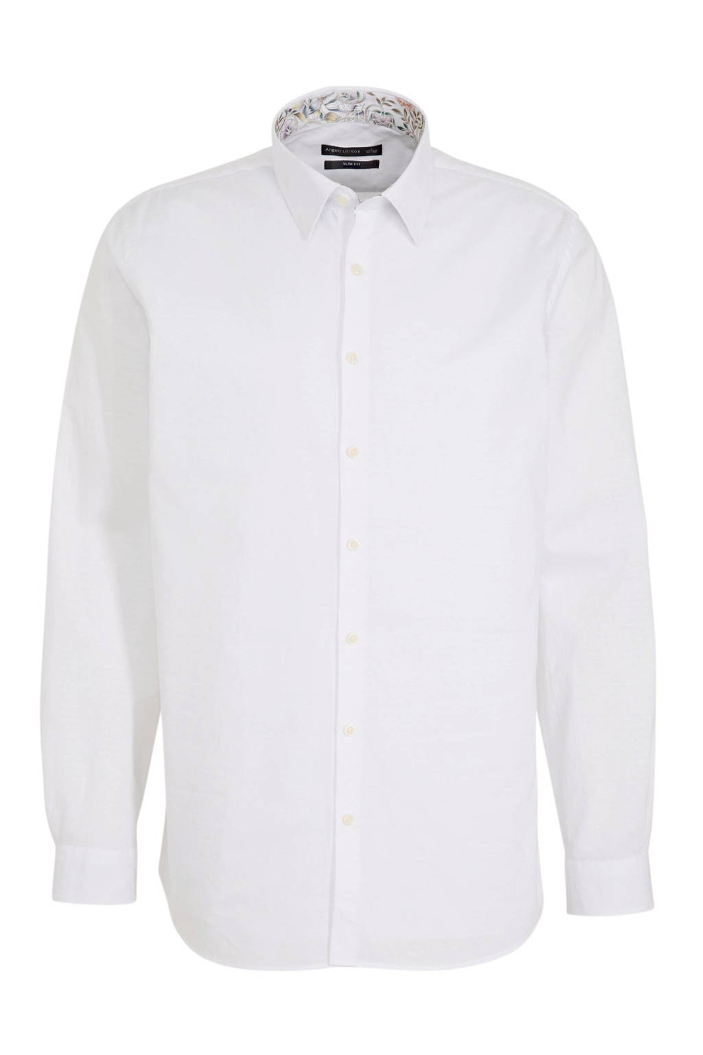C&A Angelo Litrico slim fit overhemd wit met ruitjes print, Wit