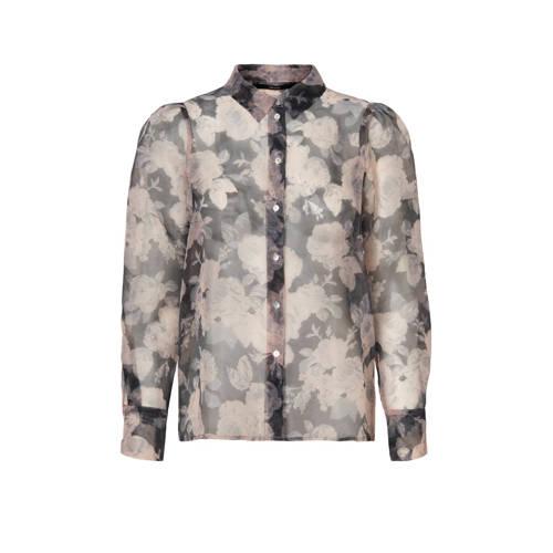 VERO MODA blouse met all over print grijs