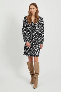OBJECT blousejurk met all over print zwart/wit, Zwart/wit