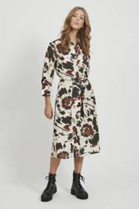 OBJECT blousejurk met all over print zwart/ecru/brui
